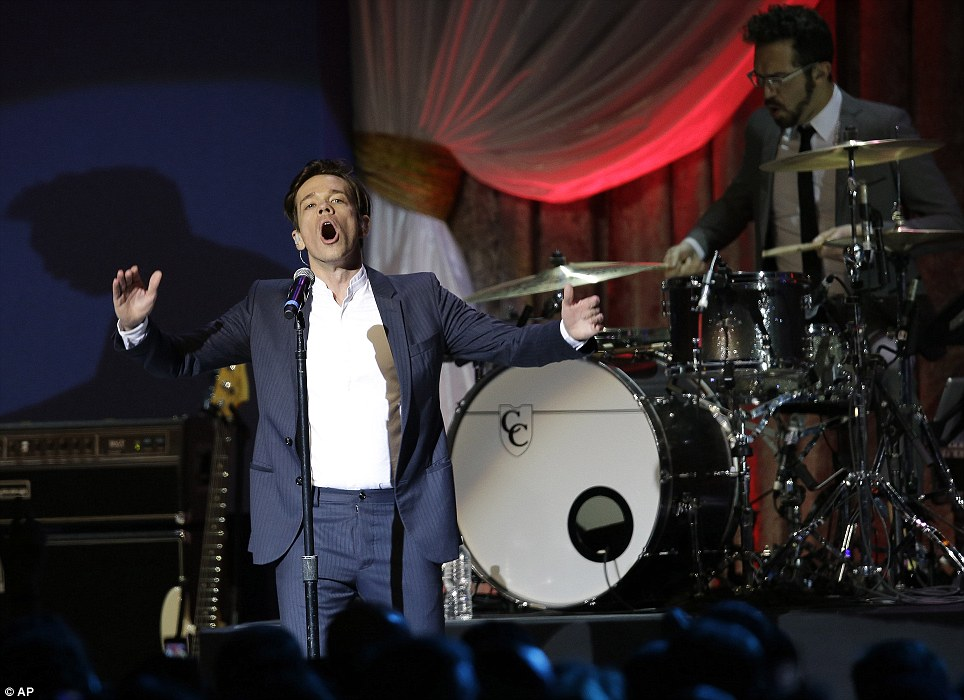 Rocking celebration: Fun perform during the 57th Inauguration ball on Monday evening