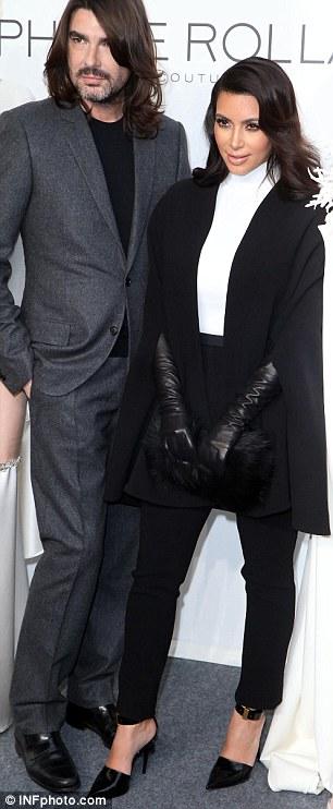 Kim Kardashian backstage with designer Stephane Rolland