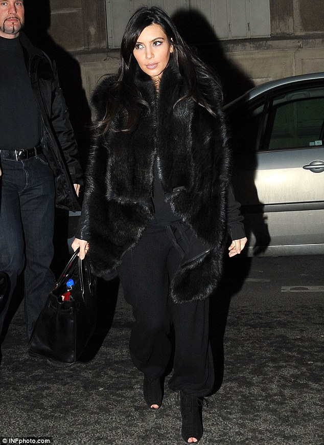 Dinner date: Kim had spent the day filming her new perfume advert