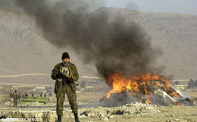 An Afghan policeman stands guard as an eight ton pile of opium, heroin and hashish is incinerated in Kabul in 2004