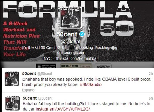 Not a supporter: 50 Cent's tweets accused Rock Ross of staging the shooting