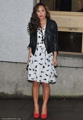 Myleene Klass wears stylish white dress covered in black birds and     Bird of prey  Myleene put on her best pout as she stood outside the ITV