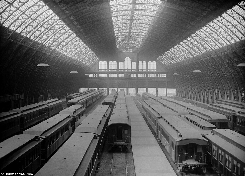 This image shows trains coming and going in Grand Central Station's early days
