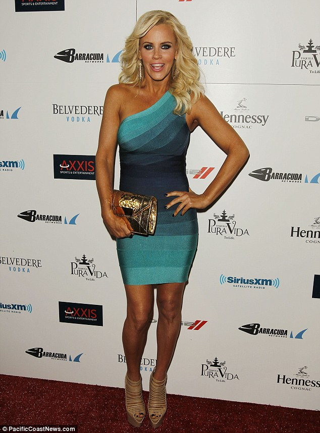Bold: The bubbly blonde showed off her super tanned skin as she mingled at the bash on Friday night