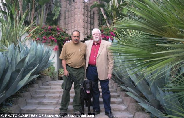 Steve Hodel, right, with cadaver dog handler Paul Dostie, and Buster, searched the Sowden/Franklin House at 5121 Franklin Ave., Hollywood for evidence that the Black Dahlia Murder took place there