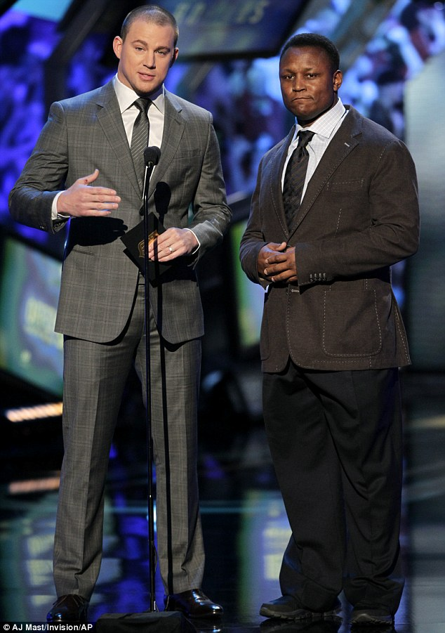 Big names: Actor Channing Tatum, left, and former NFL player Barry Sanders present at the 2nd Annual NFL Honors