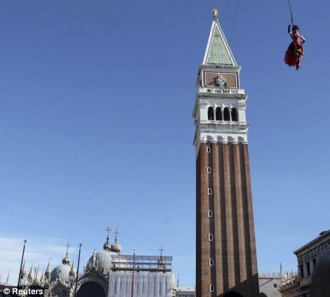 The traditional Columbine descends from Saint Mark's bell tower