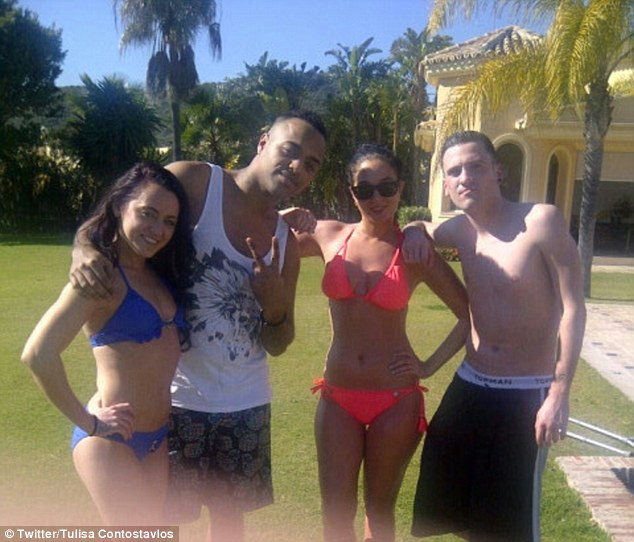 Living it up: Tulisa has spent the last few days in Marbella, Spain, with a group of friends