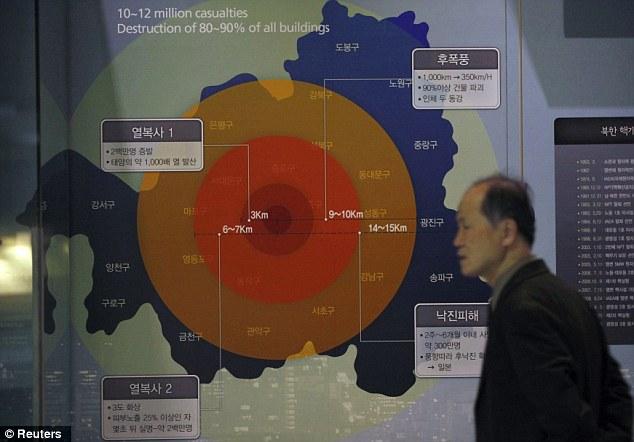 Amenaza para la paz mundial?  Un hombre pasa junto a una pantalla que muestra el daño que un arma nuclear clase 1MT causaría si detonó en Seúl, en el Museo Memorial de la Guerra de Corea en Seúl el 5 de febrero
