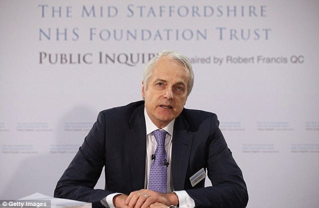Damning: Inquiry Chairman Robert Francis QC published his 1,700 page report with 290 recommendations following 'appalling care' at a Stafford hospital