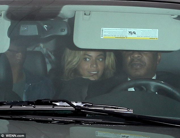 Pop royalty: Beyonce and Jay-Z went for a meal in Los Angeles on Thursday after jetting in to attend the Grammys