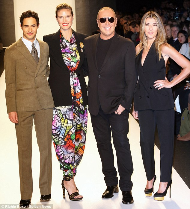 Here come the judges: Joined by fellow Project Runway judges Zac Posen, Michael Kors and Nina Garcia, the foursome watched this season's contender's designs saunter down the runway