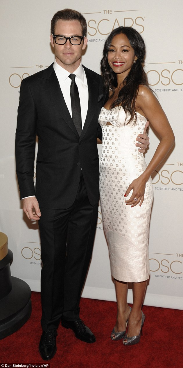 Geeky chic: Zoe co-hosted the awards ceremony with actor Chris Pine, her co-star in the upcoming Star Trek Into Darkness, due out in May