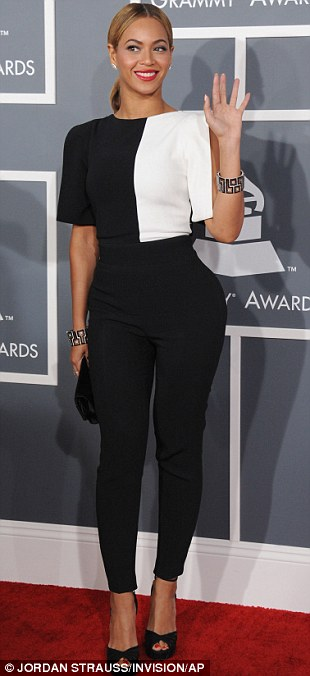 Geometric: Beyonce took her choice of outfit into the 21st century with a black and white pantsuit
