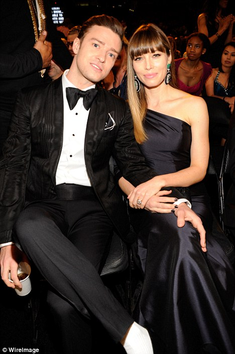 Sitting pretty: The Grammys were a makeshift double date for the power couples