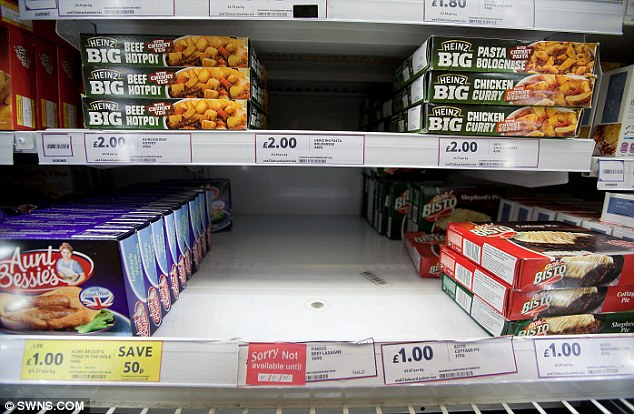 Conspicuous absence: Retailers began a mass clear out of beef products linked to the horsemeat scandal