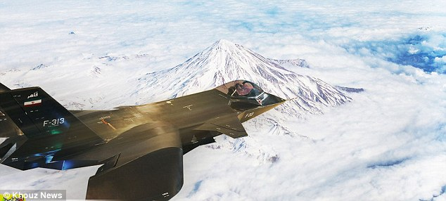 Doctored? The picture on an Iranian news site shows the jet apparently soaring over snowy mountains