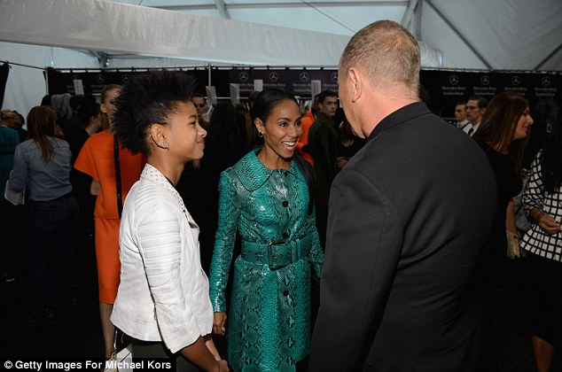 Congratulations: Jada and Willow were seen congratulating Kors backstage