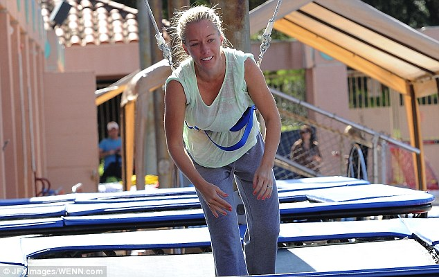 All smiles: Kendra Wilkinson practiced her dives for the upcoming ABC show Splash in Los Angeles, California on Tuesday
