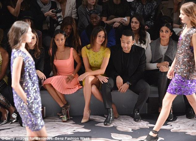 Wedding dress designer: Jada Pinkett Smith, model Chrissy Teigen, singer John Legend, and Rachel Roy attend the Vera Wang Fall 2013 fashion show