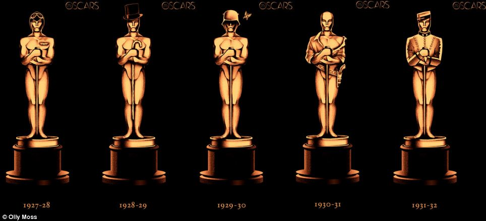 Winners: (Left to right) Oscar wears pilot's headgear for Wings, a top hat and cane for The Broadway Melody, a helmet for All Quiet on the Western Front, a gun and holster for Cimarron and a bellboy's costume for Grand Hotel