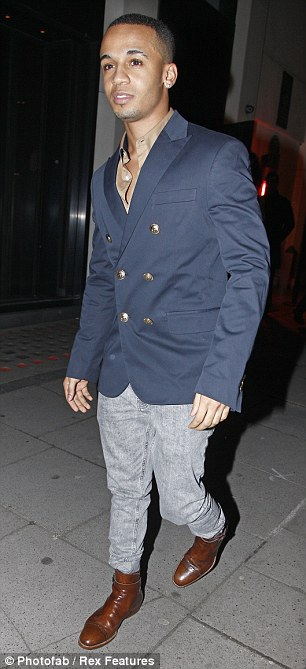 The old boys: Olympian Louis Smith joined the party in an all black ensemble while Aston was less successful on the fashion front