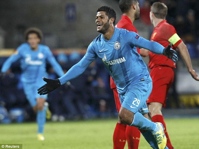Screamer: Hulk celebrates his long-range strike which gave Zenit the lead with 20 minutes to play