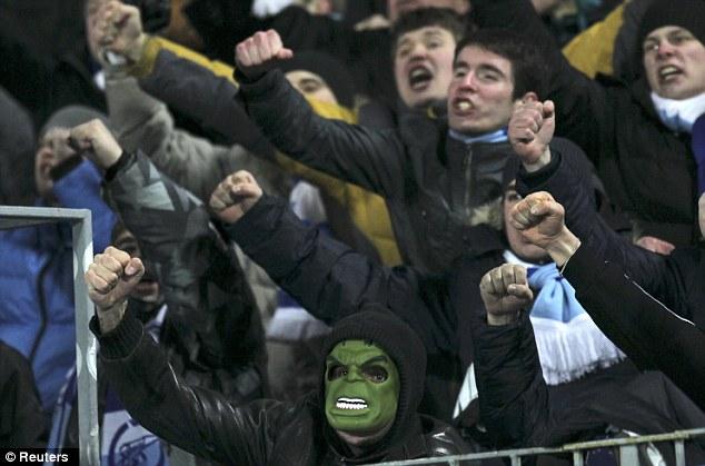 Fancy dress: One Zenit supporter wears a Hulk mask
