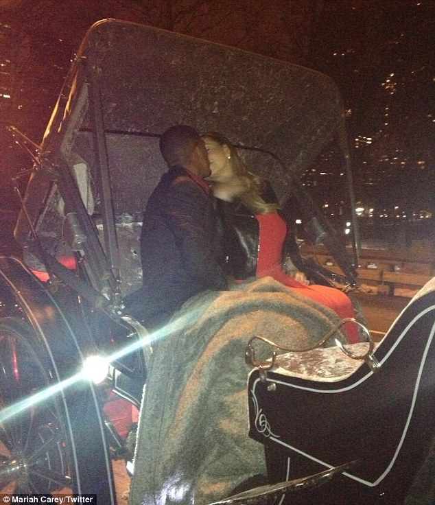 Cuddling up: Nick took his wife on a romantic carriage ride around Central Park