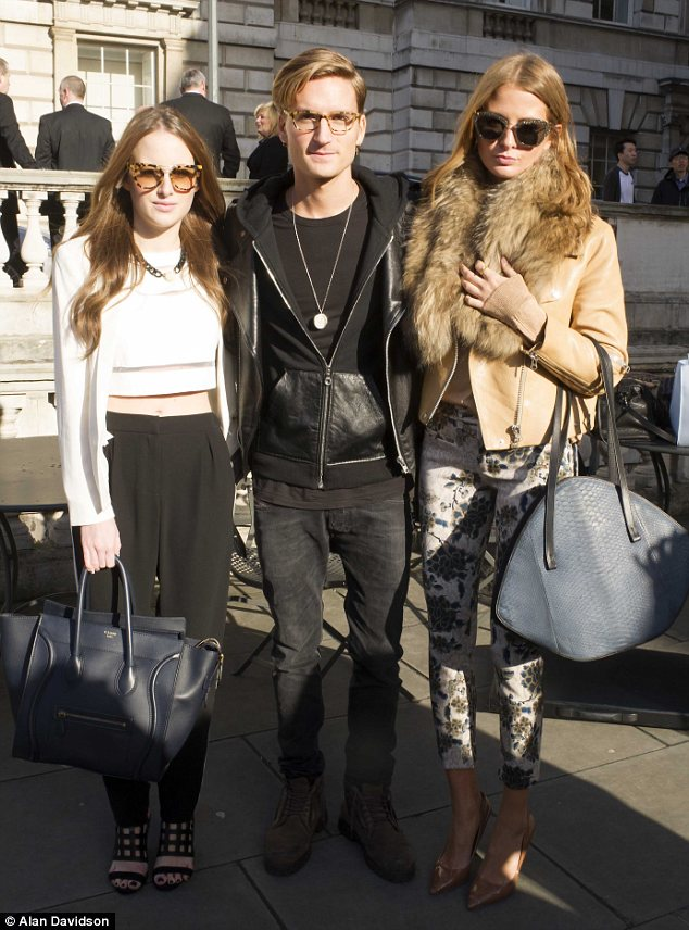The Chelsea Crew: Rosie Fortescue, Oliver Proudlock and Millie Mackintosh attend the Somerset House show