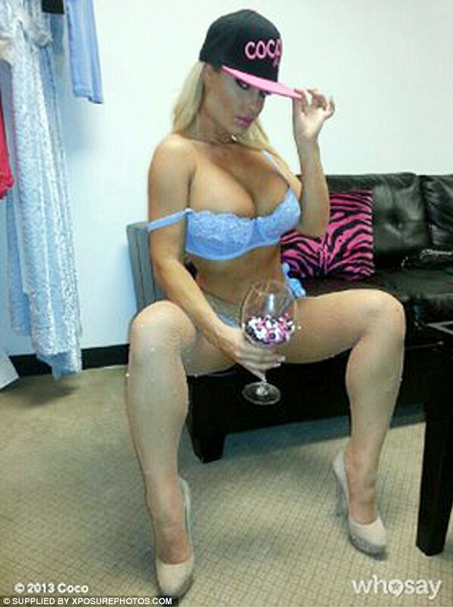 Peek-a-boo: Coco Austin posted this picture of herself in her Bo Peep costume on Twitter, clearly rivaling a photo that her husband Ice-T tweeted earlier