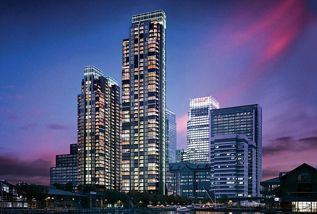 New builds: Canary Wharf is a hotspot for Far Eastern investment - pictured, the Pan Peninsula.