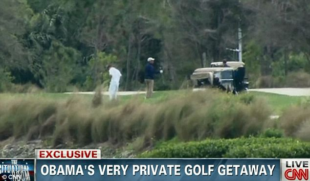 On the course: CNN was the only network to air footage of President Obama during one of his golf outings, but it does not appear to be the time that he played with Tiger Woods