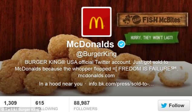 Burger King's Twitter account has been hacked by a McDonald's fan who has changed the branding of their page to feature McDonald's food, their logo and their name