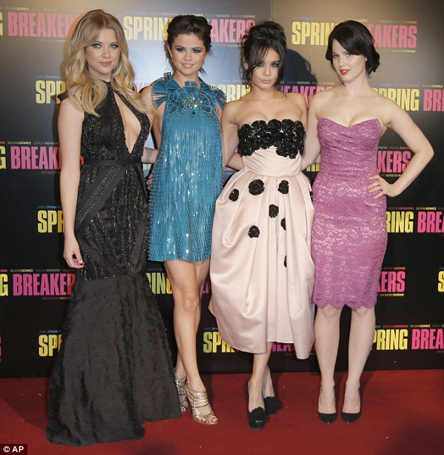 Girls on tour: Ashley Benson, Selena Gomez, Vanessa Hudgens, and Rachel Korine arrive for the premiere of Spring Breakers in Paris on Monday
