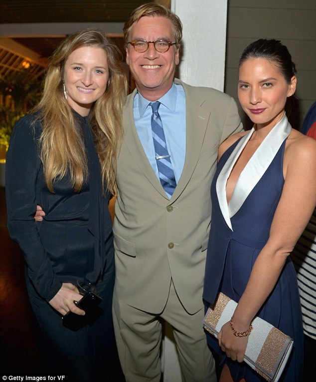 What a trio: Actress Grace Gummer, writer Aaron Sorkin and actress Olivia Munn