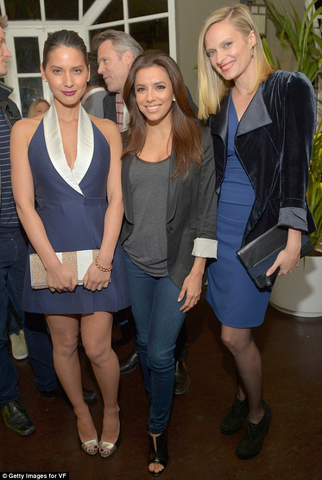 Chatty stars: From left, actors Olivia Munn, Eva Longoria and Vinessa Shaw