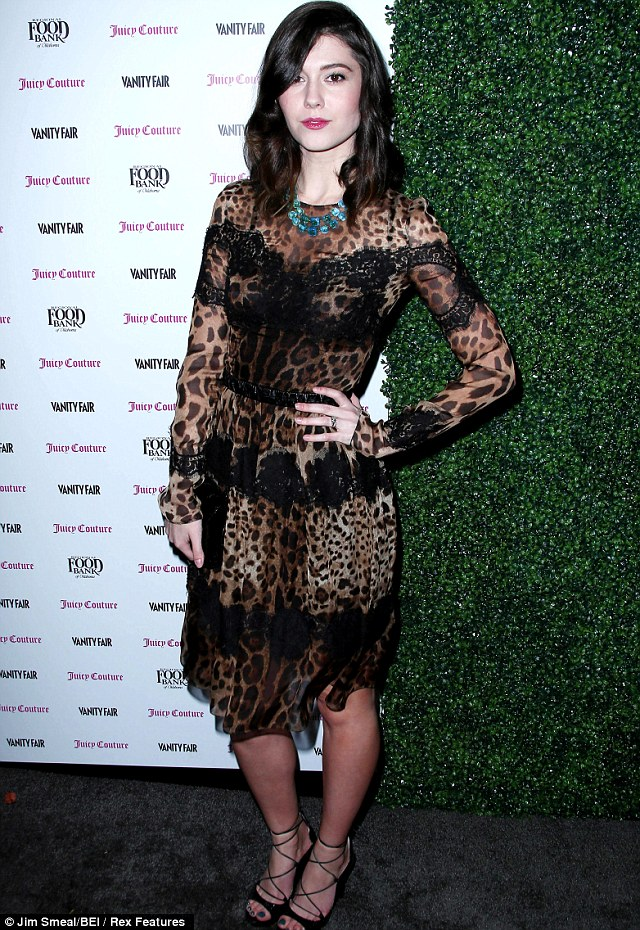 Animal magnetism: Mary Elizabeth Winstead cut a striking figure in her long sleeved leopardprint dress