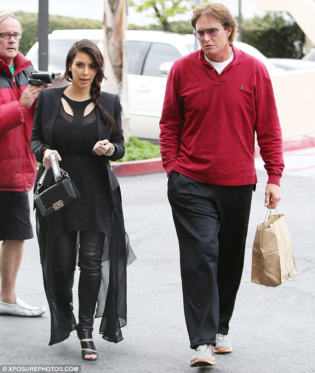 Family business: Kim later met with Bruce Jenner and the rest of the clan at Encino for a family meeting