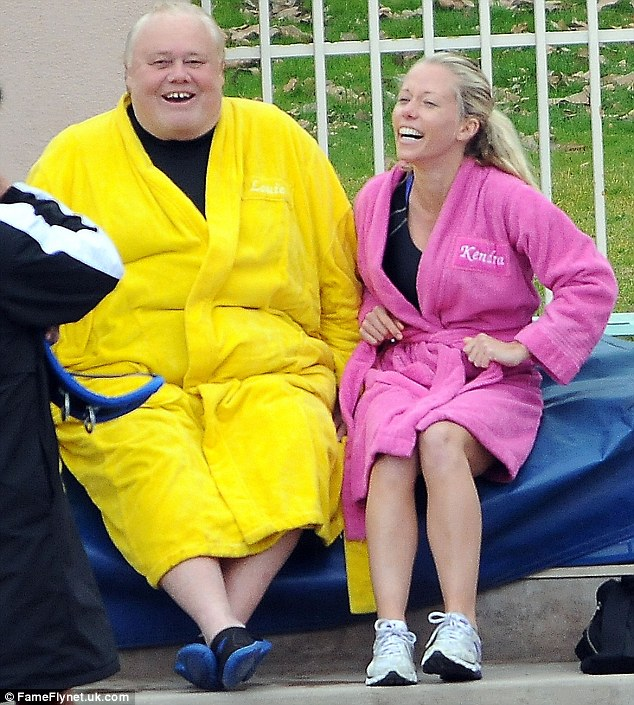 Fun time out: Kendra and fellow contestant Louie Anderson shared a few laughs as they waited for their turn on the high dive