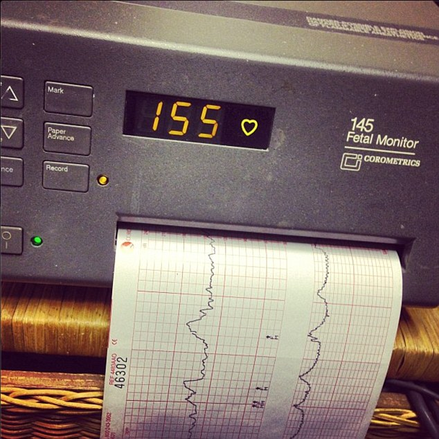 Coming soon: The rapper posted a picture on Instagram Tuesday of fetal monitor, saying 'Coming soon!'