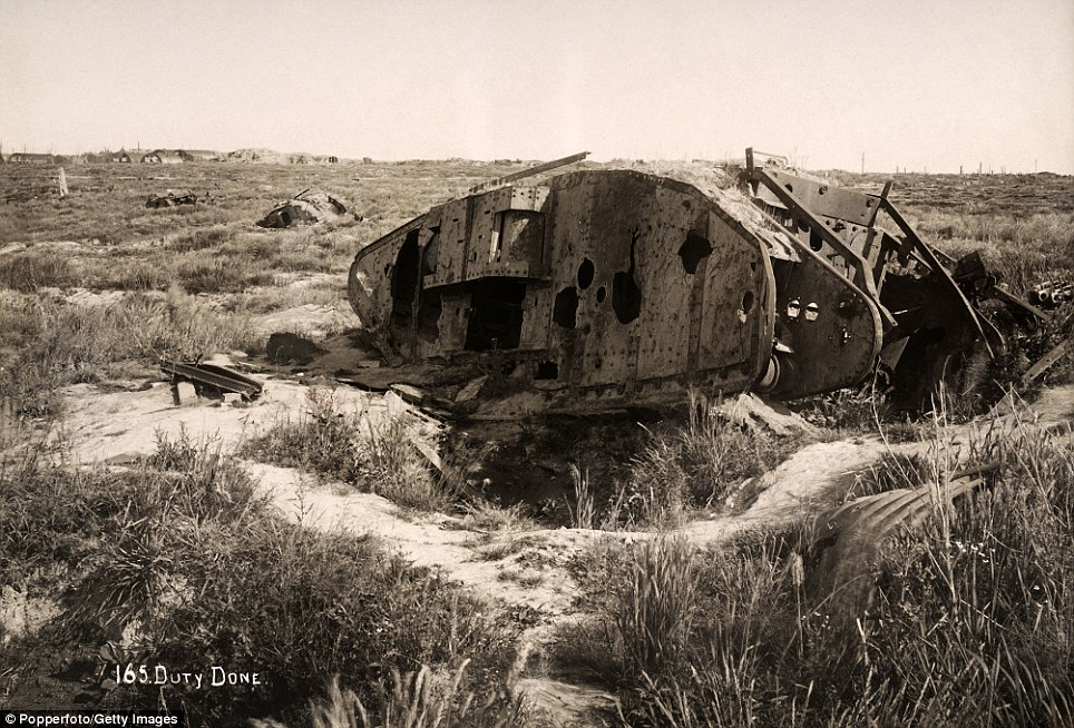 Shot to pieces: The wreckage of a tank. Some 7.5million men lost their lives on the Western Front during World War One
