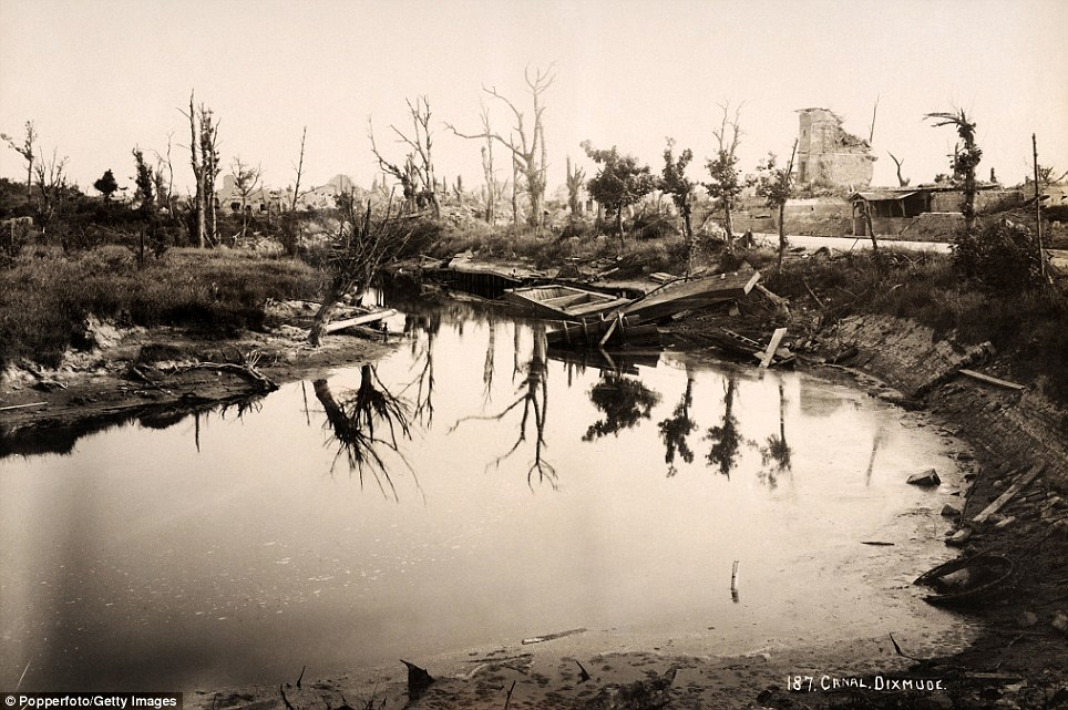 Wasteland: The canal at Diksmuide in Belgium. The Western Front was opened when the German army invaded Luxembourg and Belgium in 1914