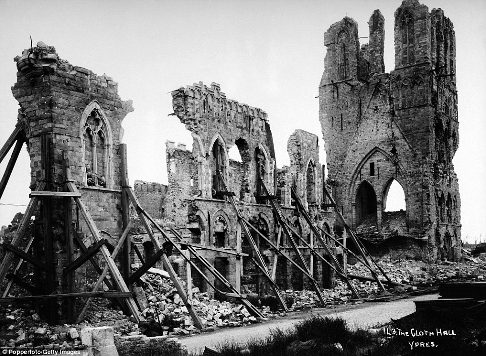 Sorry sight: The Cloth Hall at Ypres, which was one of the largest commercial buildings of the Middle Ages when it served as the main market for the city's cloth industry