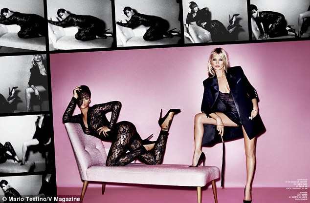 Racy in lace: One spread sees the singer pose in a lace bodysuit