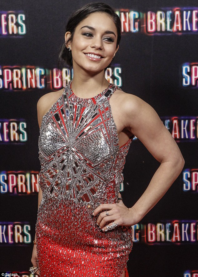 Simply sparking: Vanessa accessorised with plenty of silver jewellery