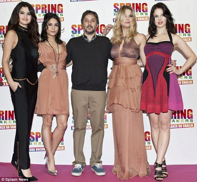 Directing: The film is directed by Harmony Korine, who is married to actress Rachel Korine (far right)