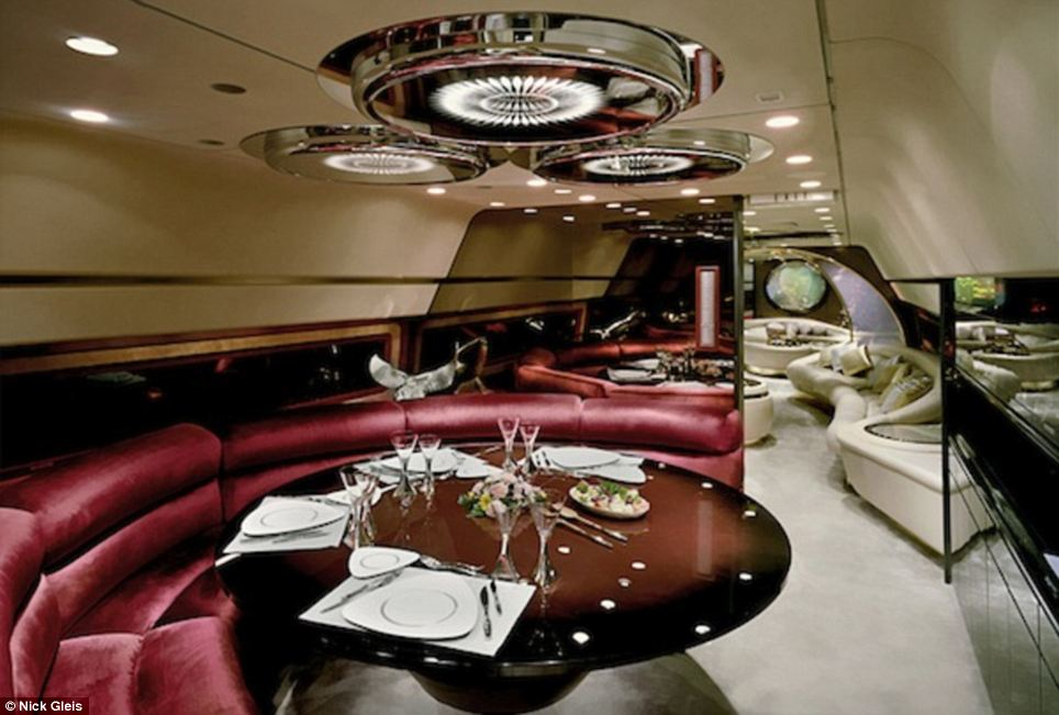 Dine in style: Panels and screens section off different areas of the impressive jets