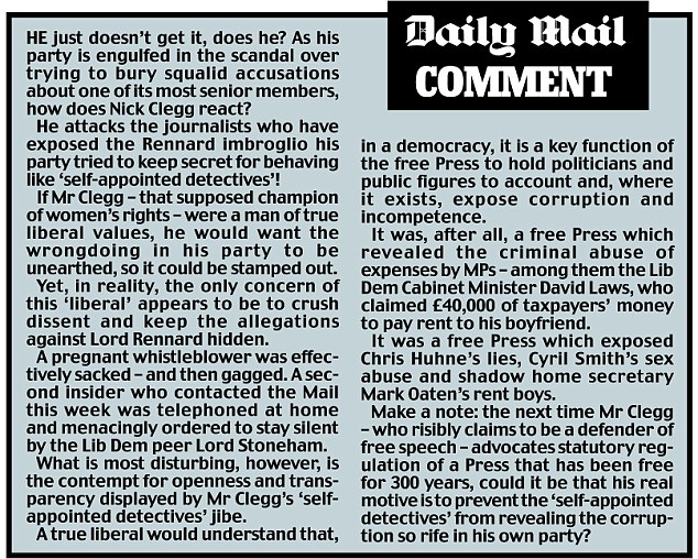 He just doesn't get it, does he? Daily Mail comment