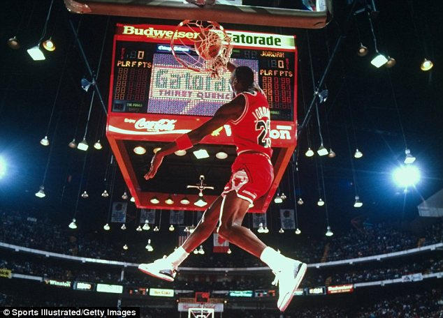 Heyday: The basketball legend is seen playing for the Chicago Bulls during his heyday in 1988